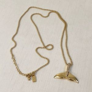 Kate Spade Gold Crystal Whale Tail Long Necklace